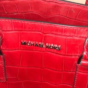 Michael Kors Convertible strap Leather Tote-RED